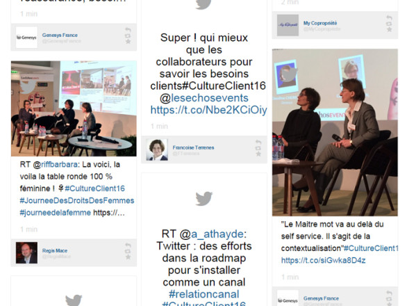 An inspiring social wall displayed during an event by Les Echos events.