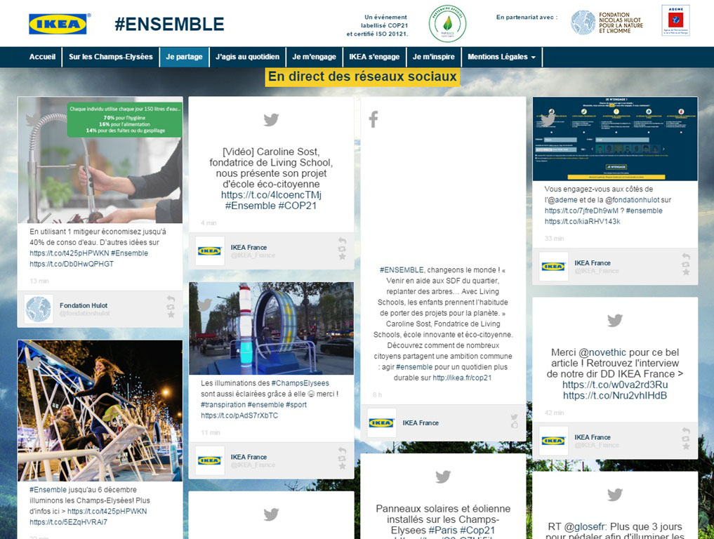 For this responsible hashtag campaign, Dialogfeed feed set up a social wall on Ikea's website.
