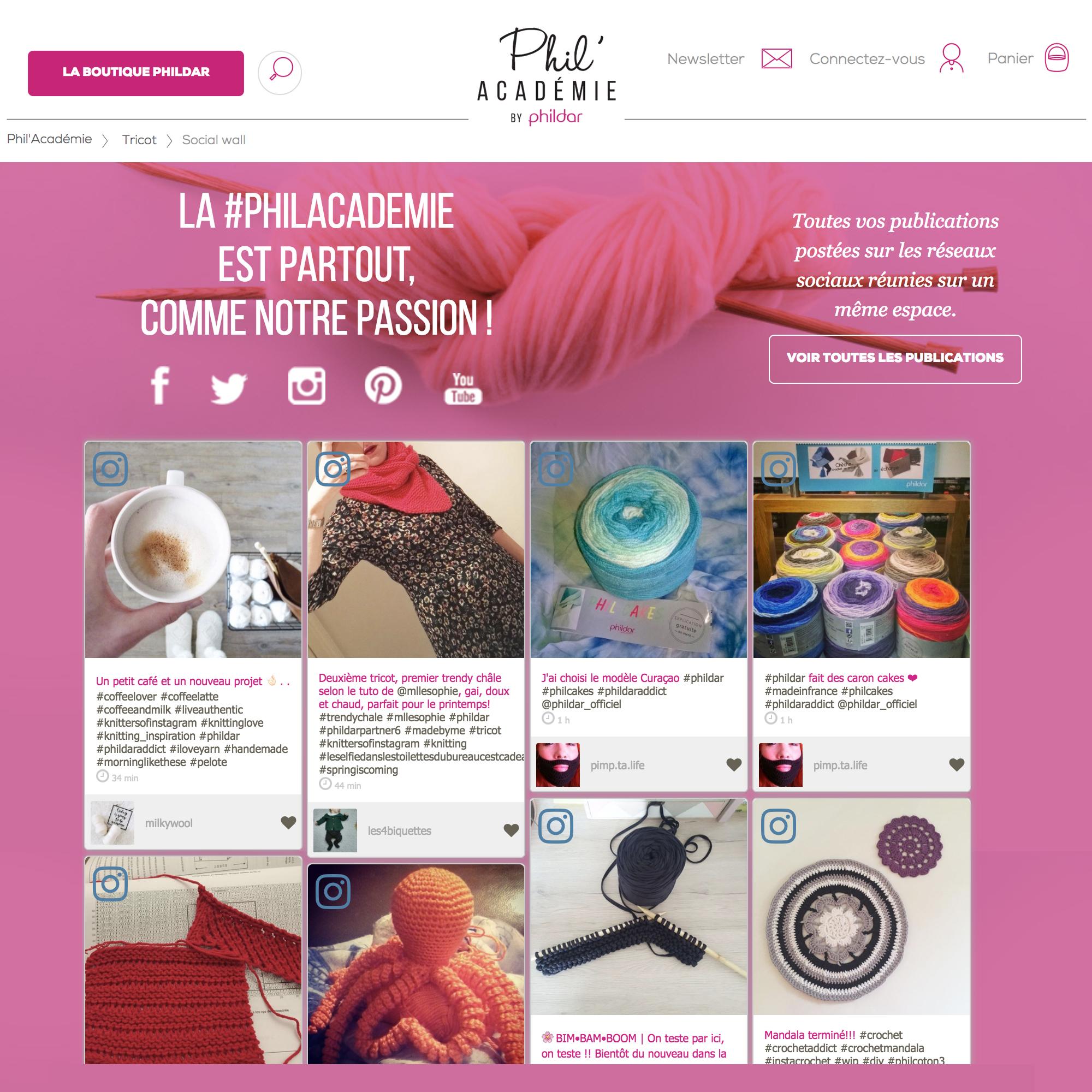 """Phildar a utilisé le marketing visuel pour promouvoir la """"Phil' Académie""""."""