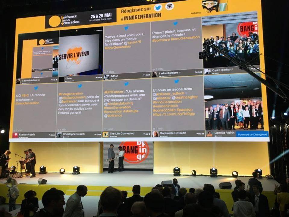 Social wall diffusé lors d'un évènement pour la BPI par Dialogfeed