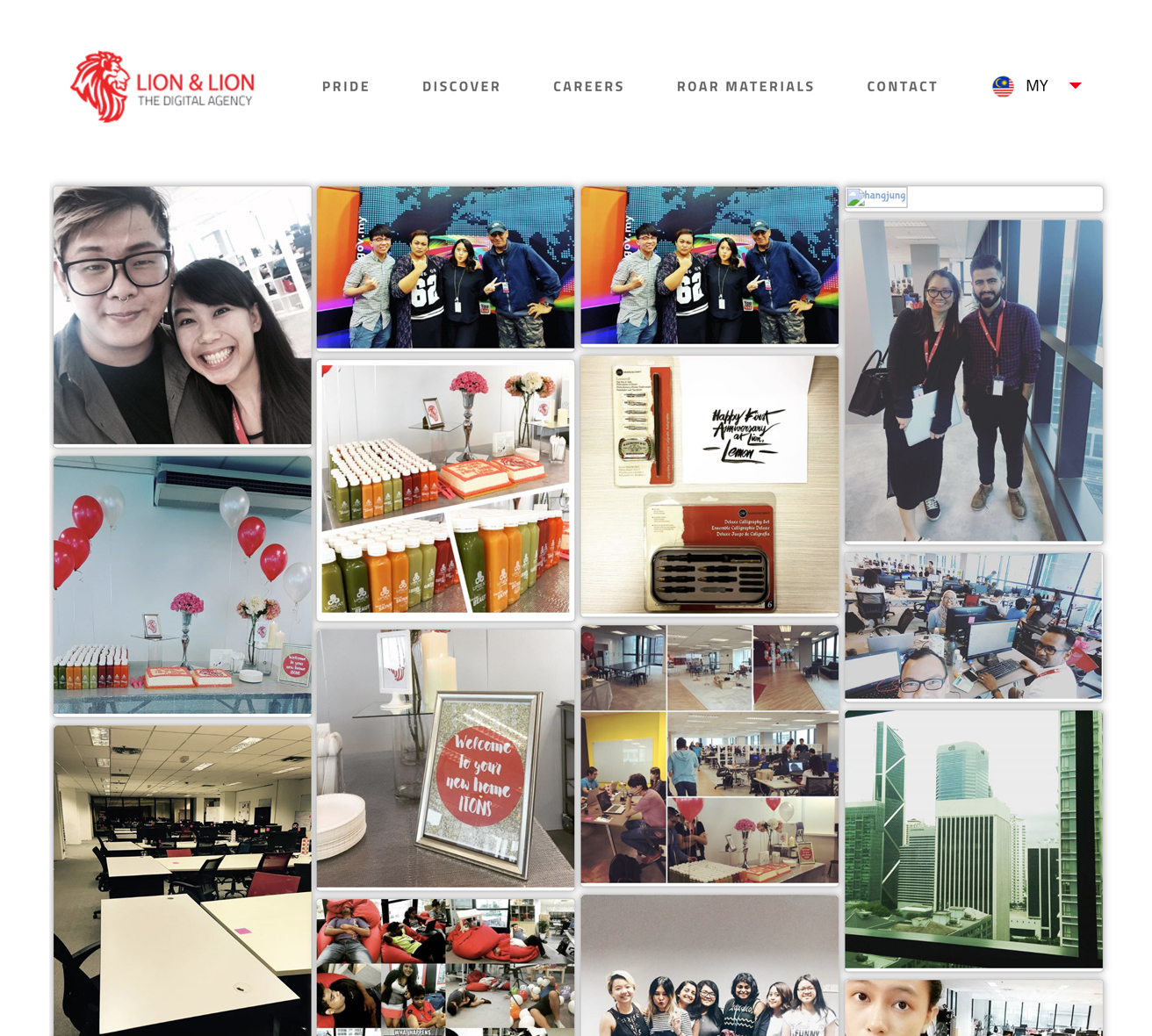 Social wall displayed on the corporate website of Lion & Lion to show the work environment